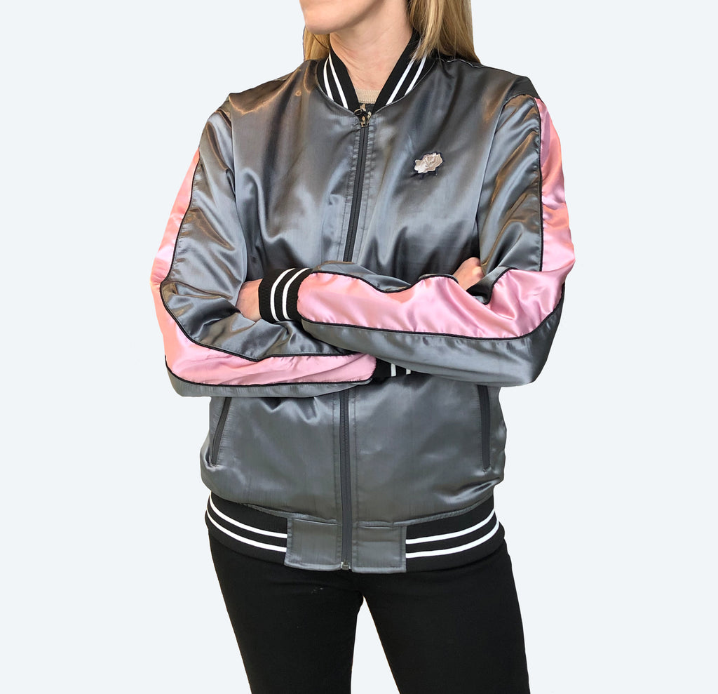 Color Block Satin Bomber