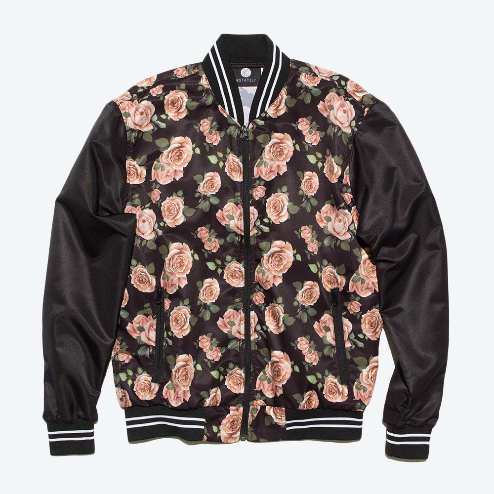 Color Block Rose Print Bomber