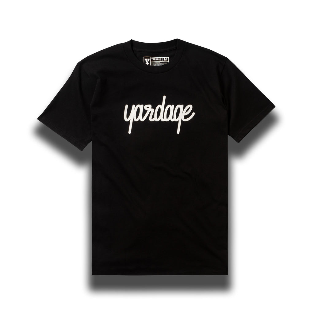Black Yardage Script Cotton T-Shirt