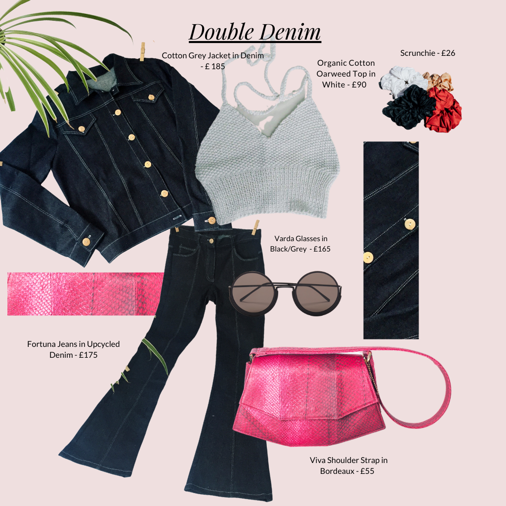 Double denim outfit collage