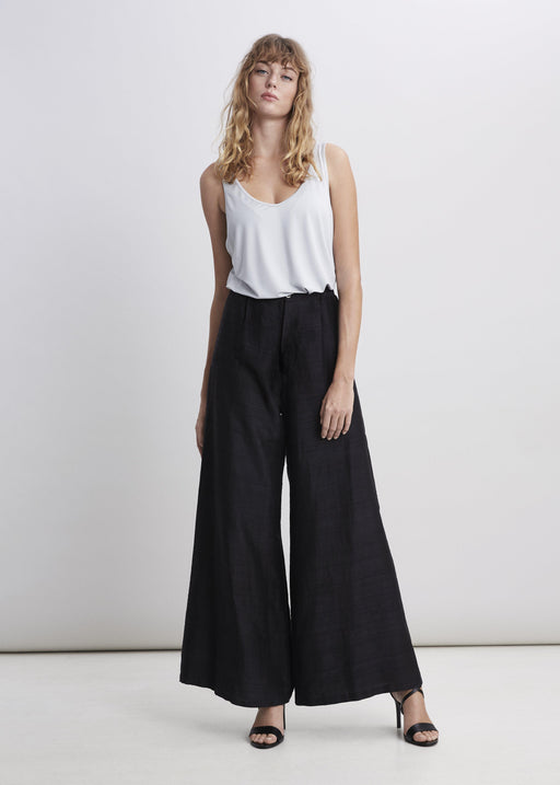 Raw Silk Trouser - Black