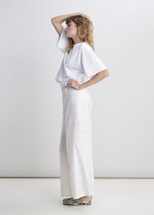 Raw Silk Trouser - Natural White