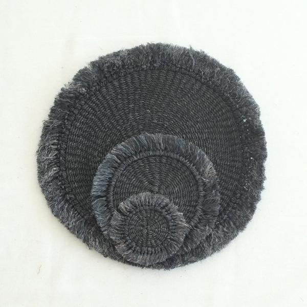Abaca Fringed Coaster (Set of 4) - Black - aequem sustainable fashion - organic - recycled - upcycled