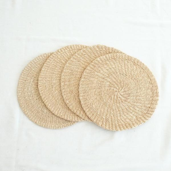 Abaca Round Placemat (Set of 4) - Natural - aequem sustainable fashion - organic - recycled - upcycled