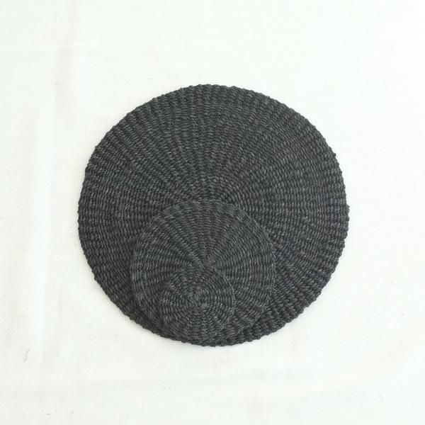 Abaca Round Coaster (Set of 4) - Black - aequem sustainable fashion - organic - recycled - upcycled