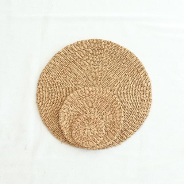 Abaca Round Hot Pad (Set of 4) - Camel - aequem sustainable fashion - organic - recycled - upcycled