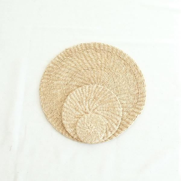 Abaca Round Coaster (Set of 4) - Natural - aequem sustainable fashion - organic - recycled - upcycled