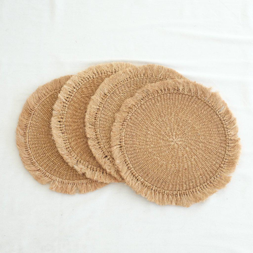 Abaca Fringed Placemat (Set of 4) - Camel - aequem sustainable fashion - organic - recycled - upcycled