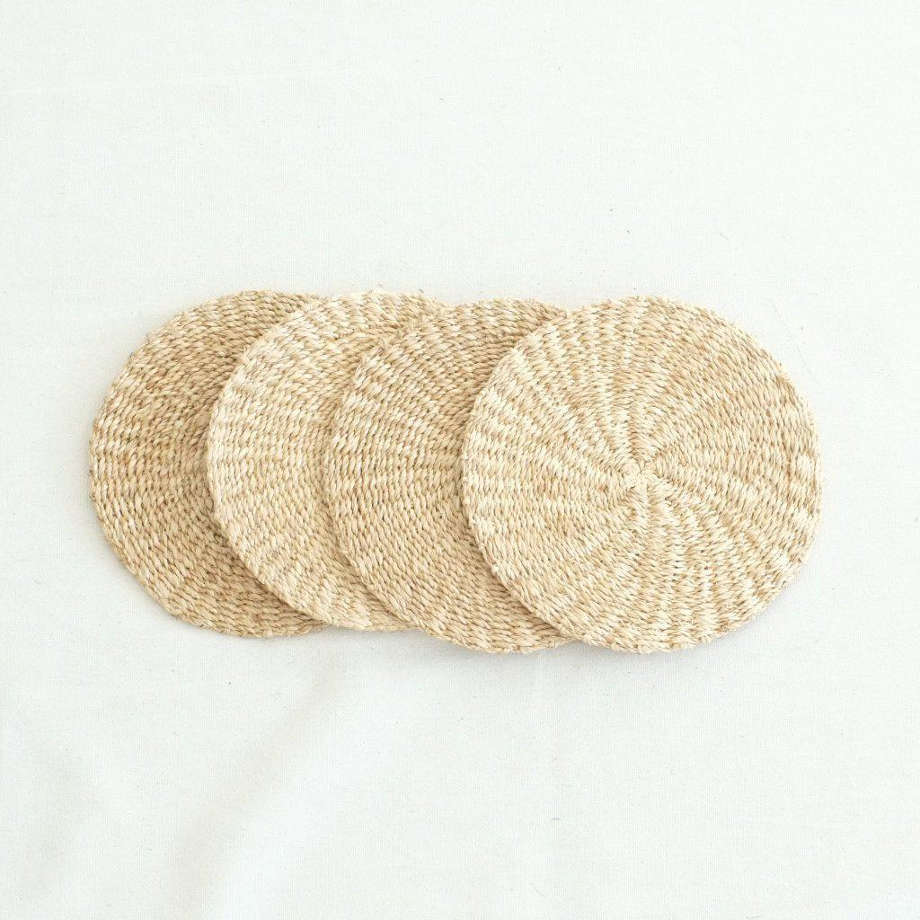 Abaca Round Hot Pad (Set of 4) - Natural - aequem sustainable fashion - organic - recycled - upcycled