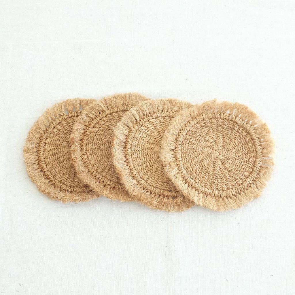 Abaca Fringed Hot Pad (Set of 4) - Camel - aequem sustainable fashion - organic - recycled - upcycled