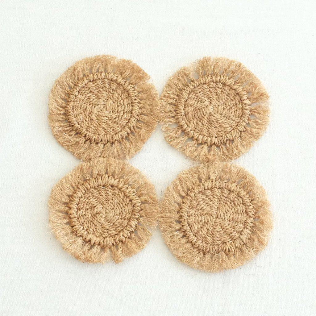 Abaca Fringed Coaster (Set of 4) - Camel - aequem sustainable fashion - organic - recycled - upcycled