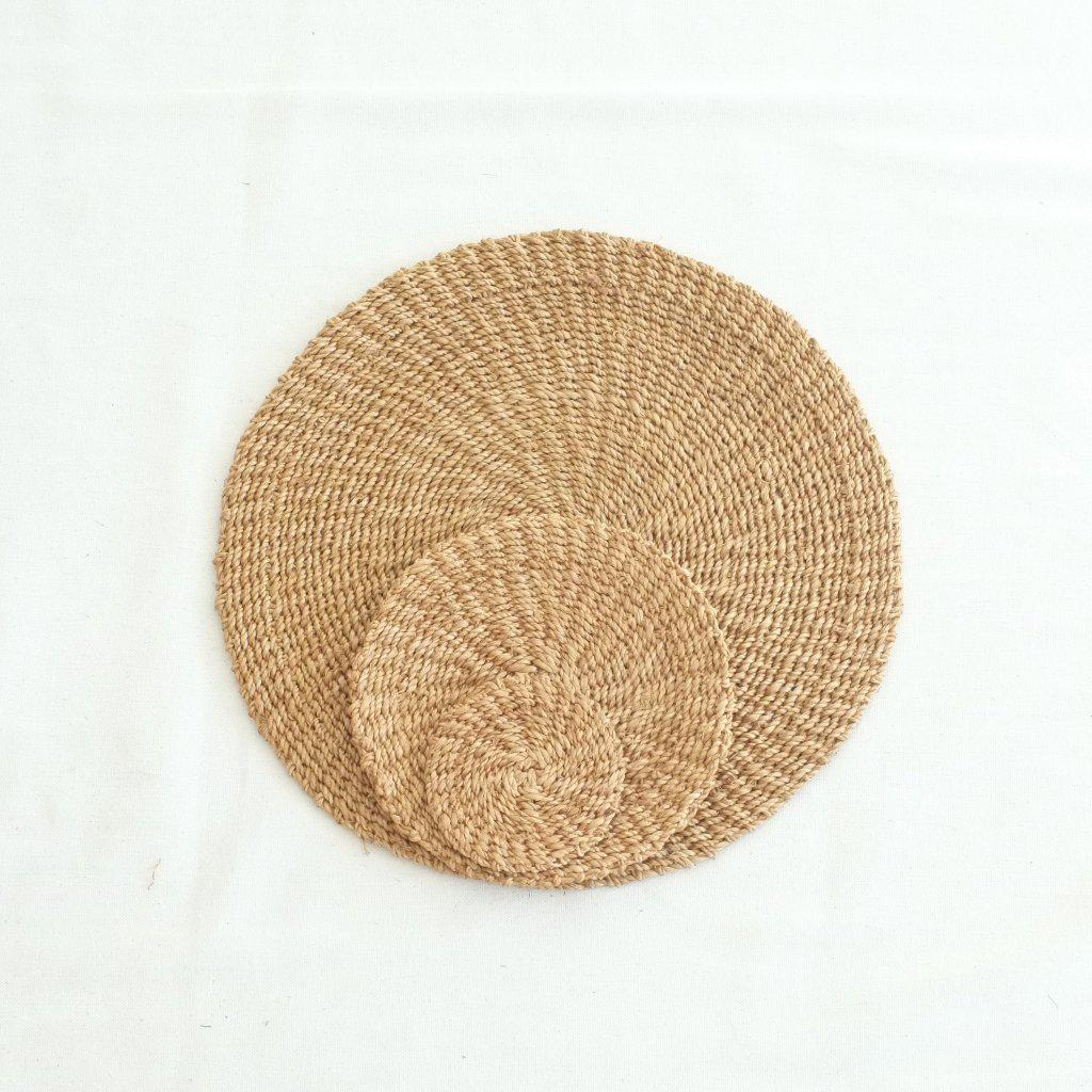 Abaca Round Placemat (Set of 4) - Camel - aequem sustainable fashion - organic - recycled - upcycled