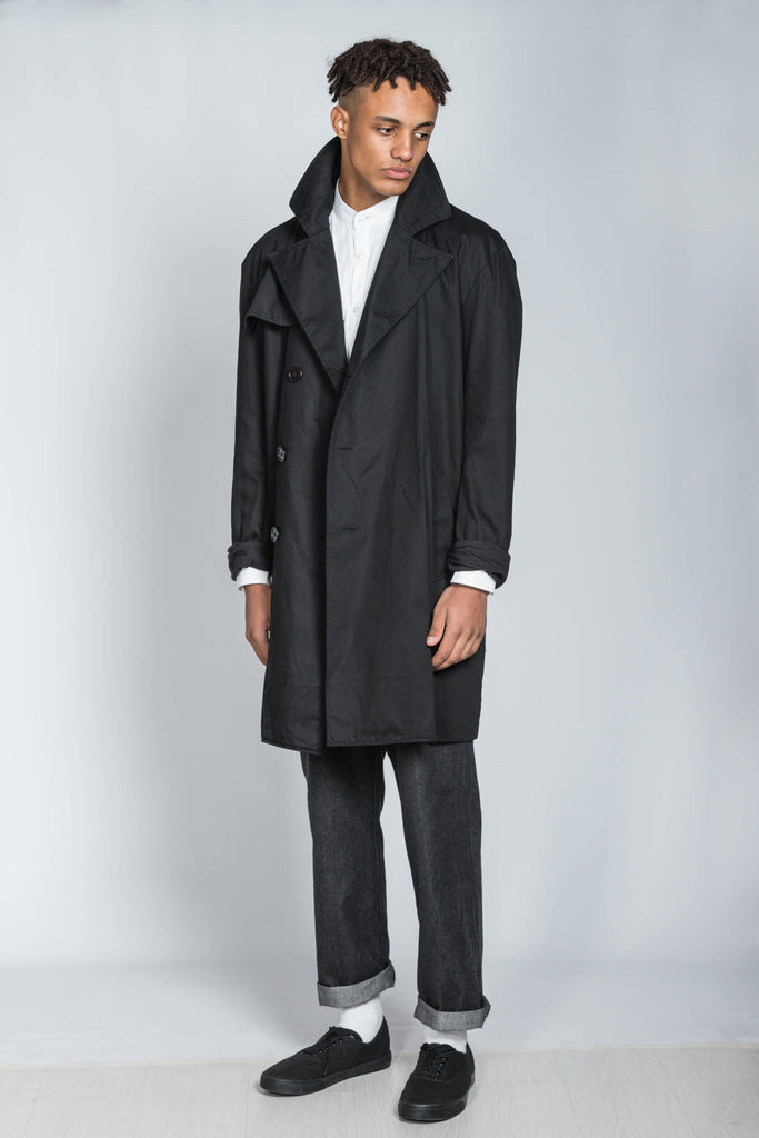 Aequem.com Shop Men's Ethical Fashion & Men's Sustainable Fashion Black Cotton Twill Men's Trench Coat-Coats & Jackets-Rozenbroek (UK)