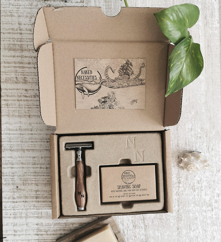 Aequem.com Shop Men's Ethical Fashion & Men's Sustainable Fashion The Naked Shave Kit-Bath-Naked Necessities (UK)
