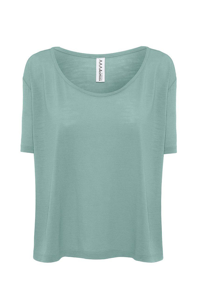 Aequem.com Shop Women's Ethical Fashion & Women's Sustainable Fashion A-line T-shirt in Sea Green-T-shirts-Asmuss Clothing (UK)