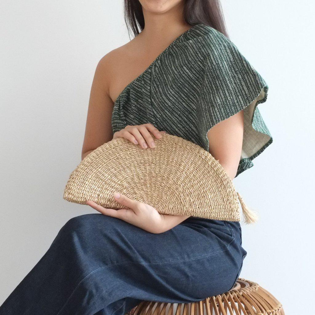 Aequem.com Shop Women's Ethical Fashion & Women's Sustainable Fashion Amaya Clutch - Natural-Clutches-INNÉ Studios
