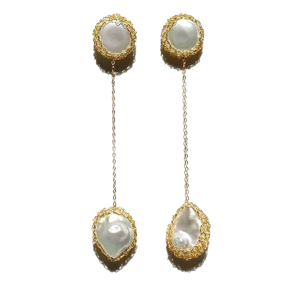 Aequem.com Shop Women's Ethical Fashion & Women's Sustainable Fashion Angela 14K Gold Baroque Pearl Drop Earrings-Jewellery-Carolina Wong (UK)