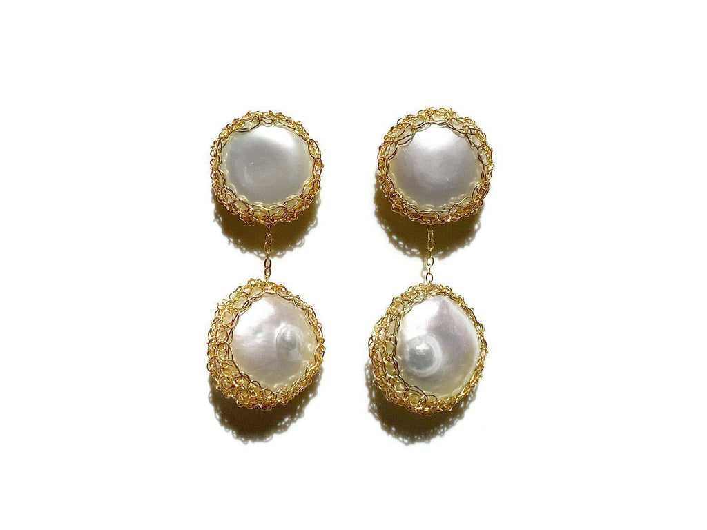 Aequem.com Shop Women's Ethical Fashion & Women's Sustainable Fashion Angie 14k Gold-filled Baroque Pearl Drop Earrings-Jewellery-Carolina Wong (UK)