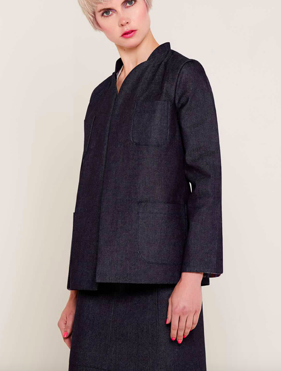 Aequem.com Shop Women's Ethical Fashion & Women's Sustainable Fashion Anne Denim Navy Jacket-Coats & Jackets-Bo Carter (UK)
