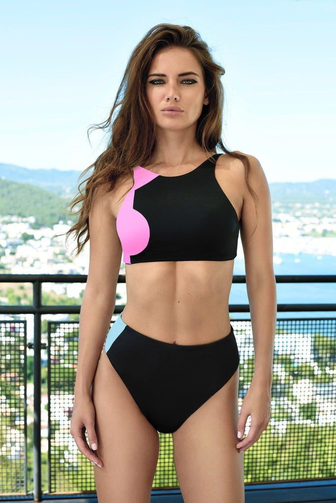 Aequem.com Shop Women's Ethical Fashion & Women's Sustainable Fashion Banda Bikini in Black, Pink and Turquoise-Bikini Sets-WeAreNativ (UK)