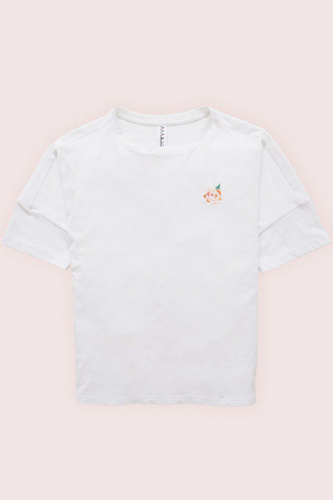 Aequem.com Shop Women's Ethical Fashion & Women's Sustainable Fashion Boxy T-shirt with Rose Embroidery-Tops-Asmuss Clothing (UK)