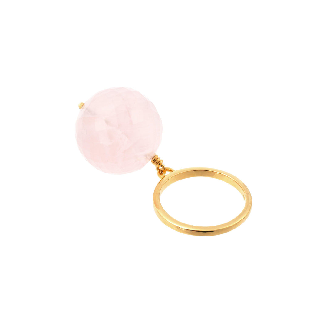 Aequem.com Shop Women's Ethical Fashion & Women's Sustainable Fashion Bubble Pink Quartz Ring In Gold-Jewellery-Amadeus (UK)