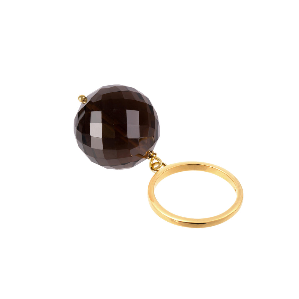 Aequem.com Shop Women's Ethical Fashion & Women's Sustainable Fashion Bubble Smokey Quartz Ring In Gold-Jewellery-Amadeus (UK)