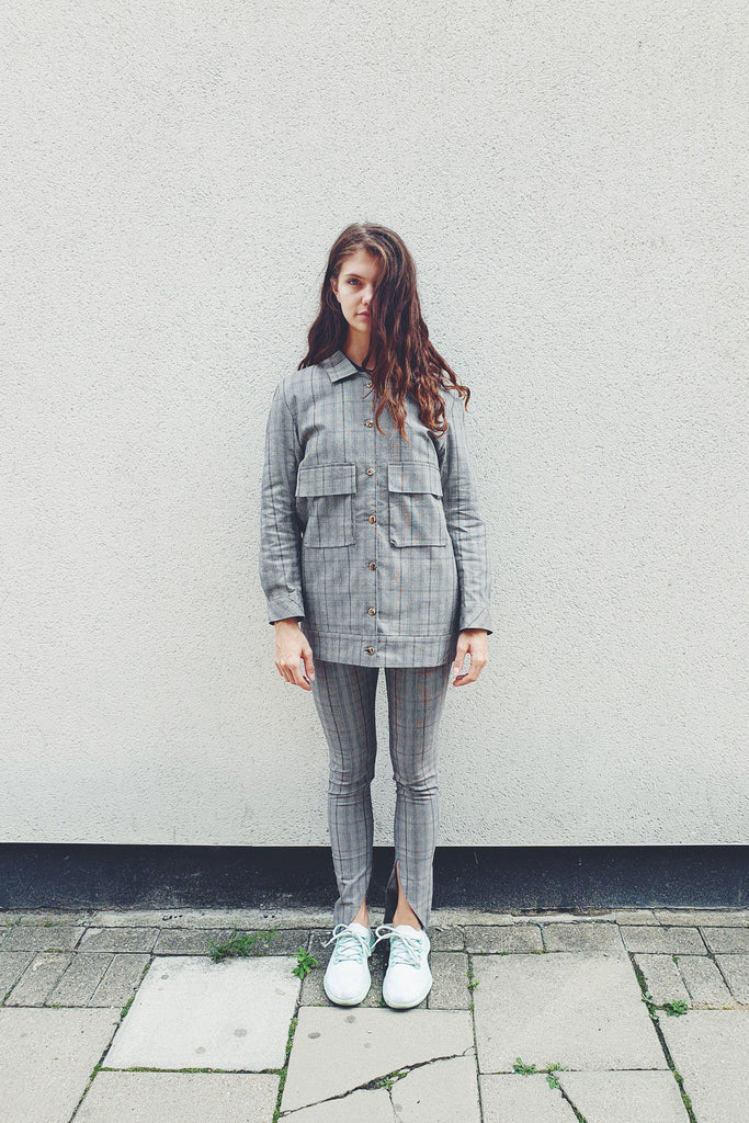 Aequem.com Shop Women's Ethical Fashion & Women's Sustainable Fashion Check Utility Suit Jacket-Coats & Jackets-Fanfare (UK)