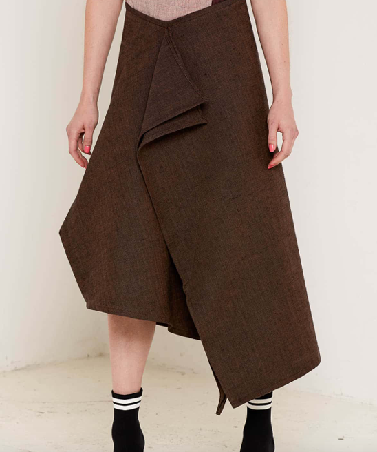 Aequem.com Shop Women's Ethical Fashion & Women's Sustainable Fashion Christina Brown Skirt-Skirts-Bo Carter (UK)