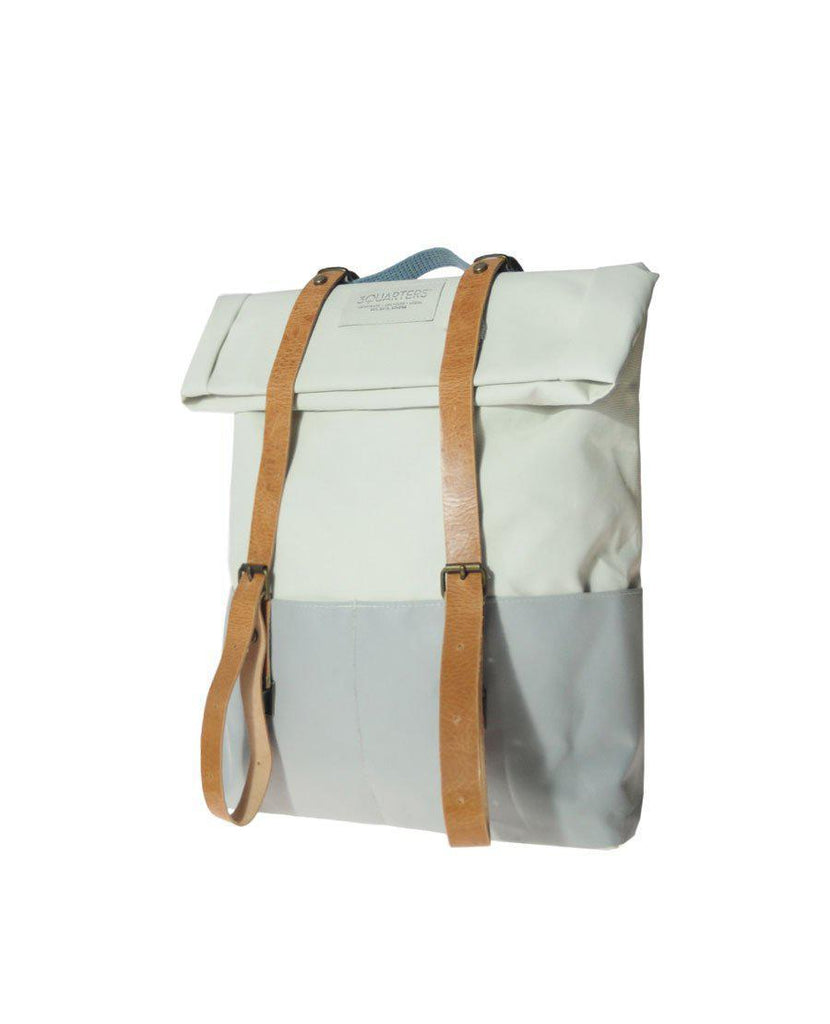 Aequem.com Shop Men's Ethical Fashion & Men's Sustainable Fashion Concrete James Sustainable Backpack From Upcycled Fabrics-Backpacks-3QUARTERS