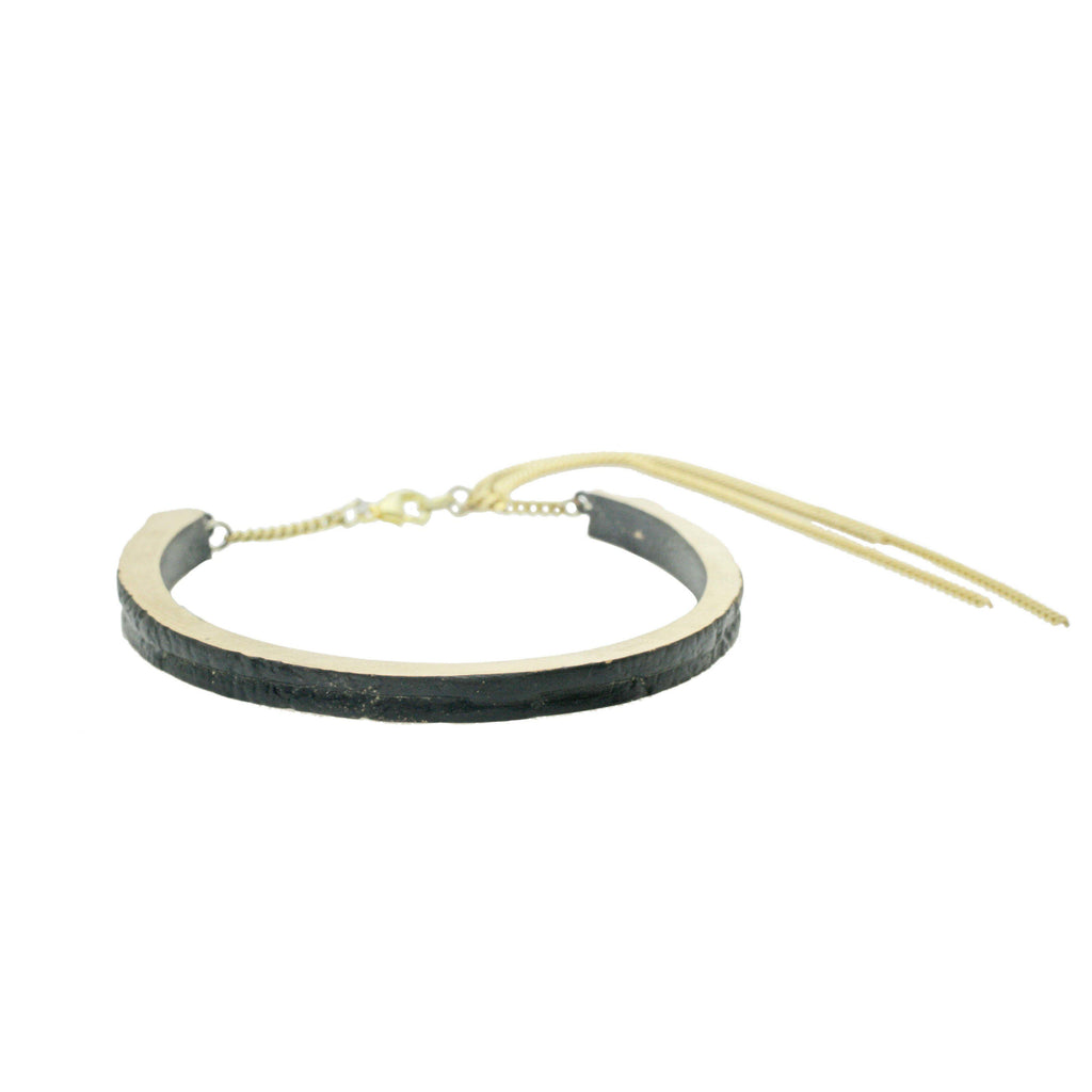 Aequem.com Shop Women's Ethical Fashion & Women's Sustainable Fashion Cracked Cuff with Chain with Recycled Bronze-Jewellery-Gina Melosi