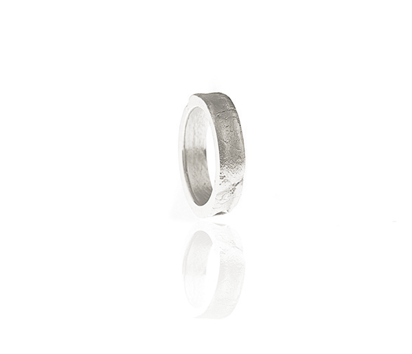 Aequem.com Shop Women's Ethical Fashion & Women's Sustainable Fashion 'Cracked' Thick Ring with Recycled Silver-Jewellery-Gina Melosi