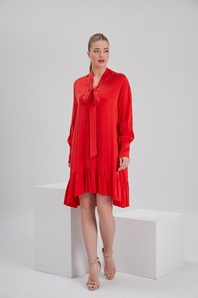 Aequem.com Shop Women's Ethical Fashion & Women's Sustainable Fashion Cupro Mia Dress in Red-Dresses-NOACODE