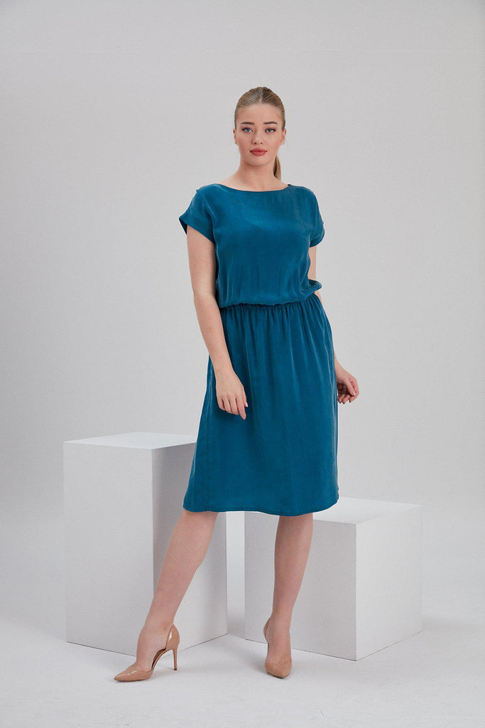 Aequem.com Shop Women's Ethical Fashion & Women's Sustainable Fashion Cupro Mia Midi Dress in Petrol Blue-Dresses-NOACODE