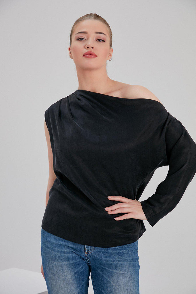 Aequem.com Shop Women's Ethical Fashion & Women's Sustainable Fashion Cupro Mia One Shoulder Top in Black-Tops-NOACODE