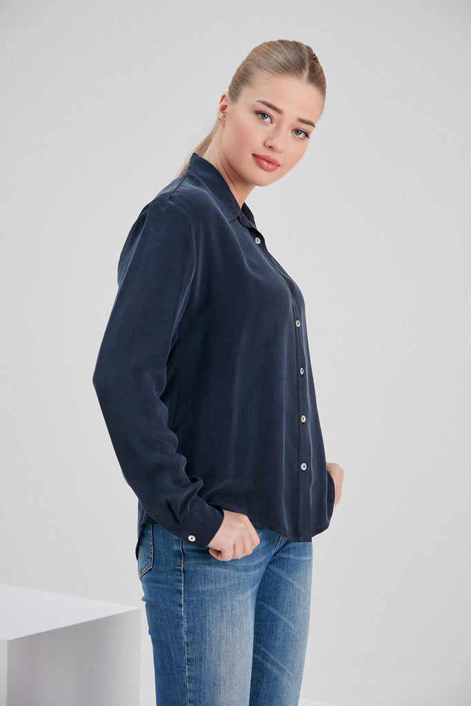 Aequem.com Shop Women's Ethical Fashion & Women's Sustainable Fashion Cupro Mia Shirt in Navy-Tops-NOACODE