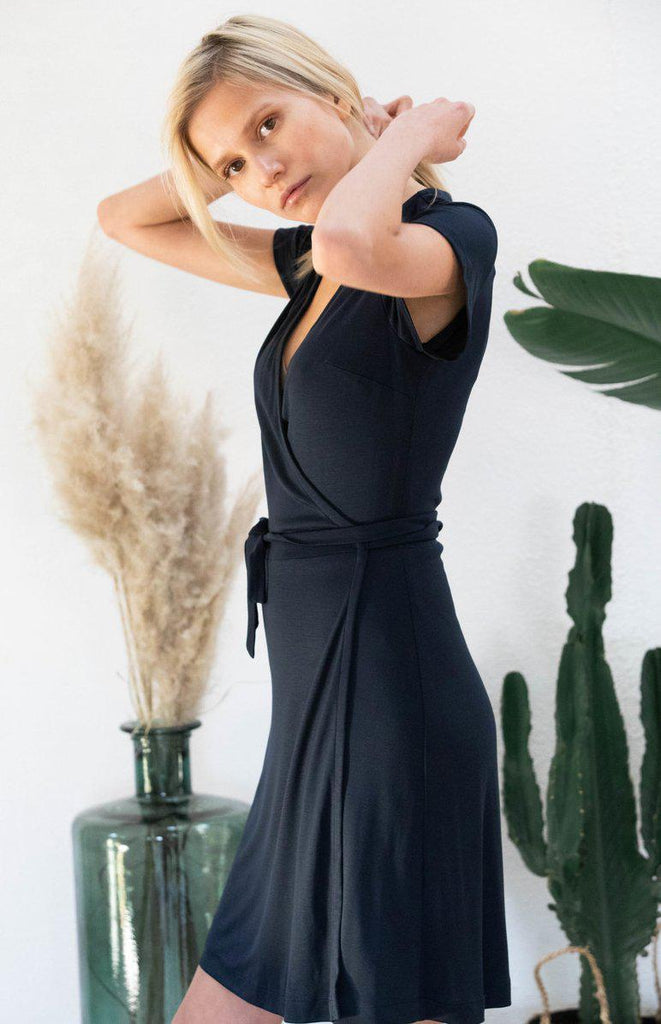 Aequem.com Shop Women's Ethical Fashion & Women's Sustainable Fashion Dress Acacia in dark blue-Dresses-AVANI