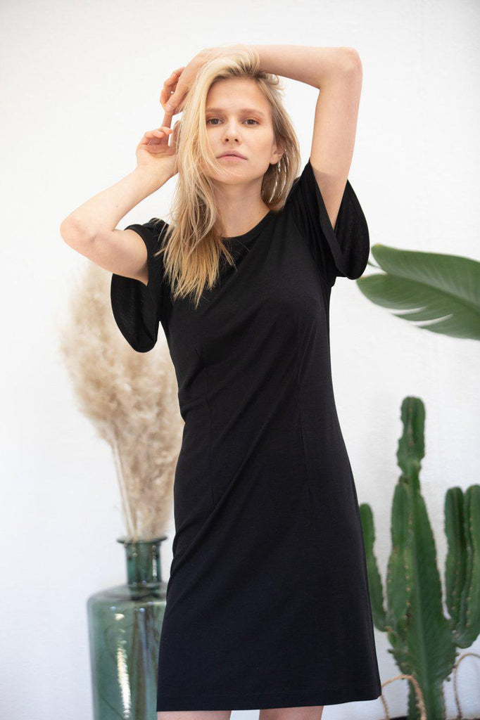 Aequem.com Shop Women's Ethical Fashion & Women's Sustainable Fashion Dress Sophora in black-Dresses-AVANI