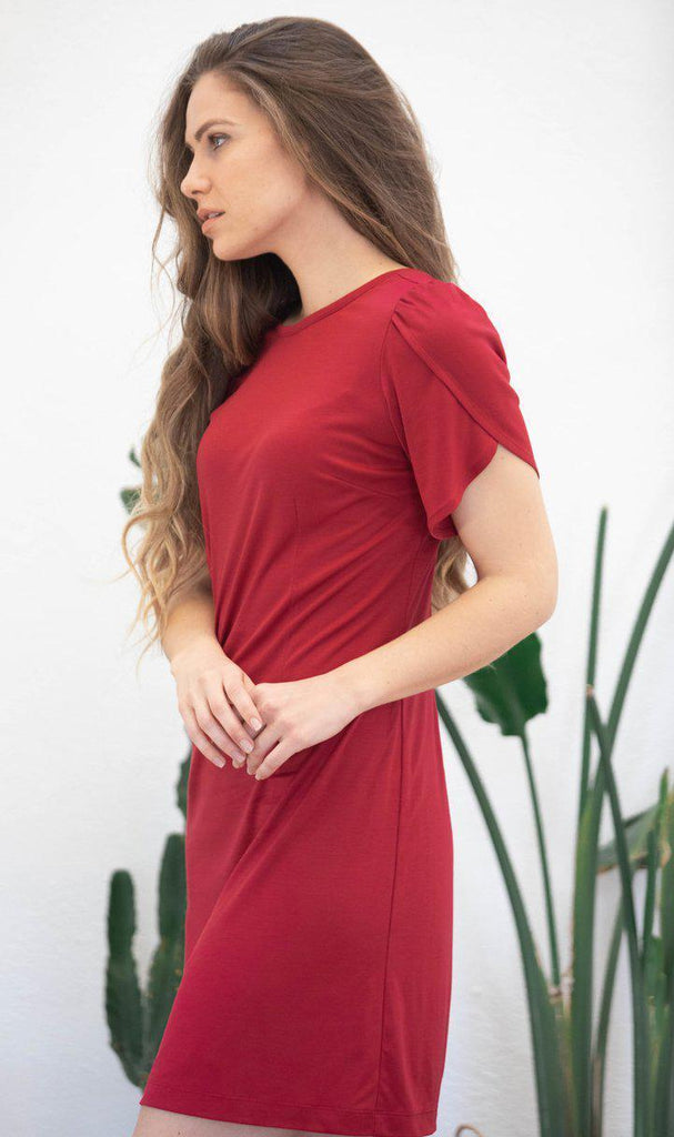 Aequem.com Shop Women's Ethical Fashion & Women's Sustainable Fashion Dress Sophora in red-Dresses-AVANI