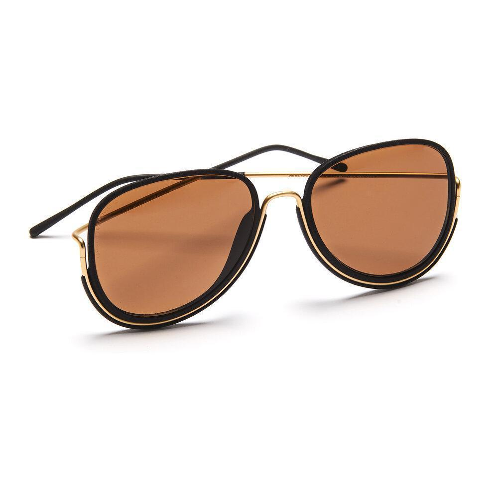 Aequem.com Shop Women's Ethical Fashion & Women's Sustainable Fashion Earhart Glasses in Gold/Black/Brown-Glasses-Wire Glasses (UK)