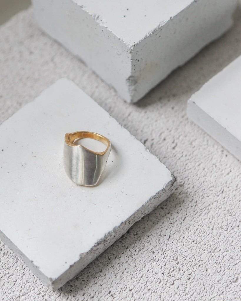 Aequem.com Shop Women's Ethical Fashion & Women's Sustainable Fashion EcoSilver (100% Recycled Silver) Broken Promises Two Tone Ring with Gold Detailing-Jewellery-Gina Melosi