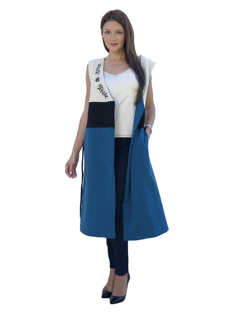 Aequem.com Shop Women's Ethical Fashion & Women's Sustainable Fashion EESTI Blue Organic Cotton Sleeveless Dress-Coats & Jackets-Kirivoo (UK)