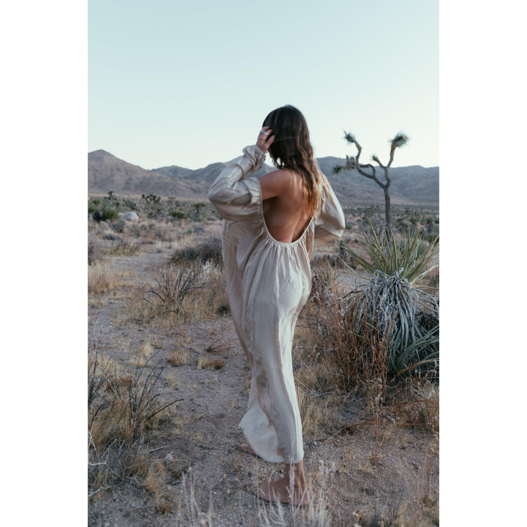 Aequem.com Shop Women's Ethical Fashion & Women's Sustainable Fashion Epic Odyssey Maxi Dress in Sand-Dresses-A Perfect Nomad