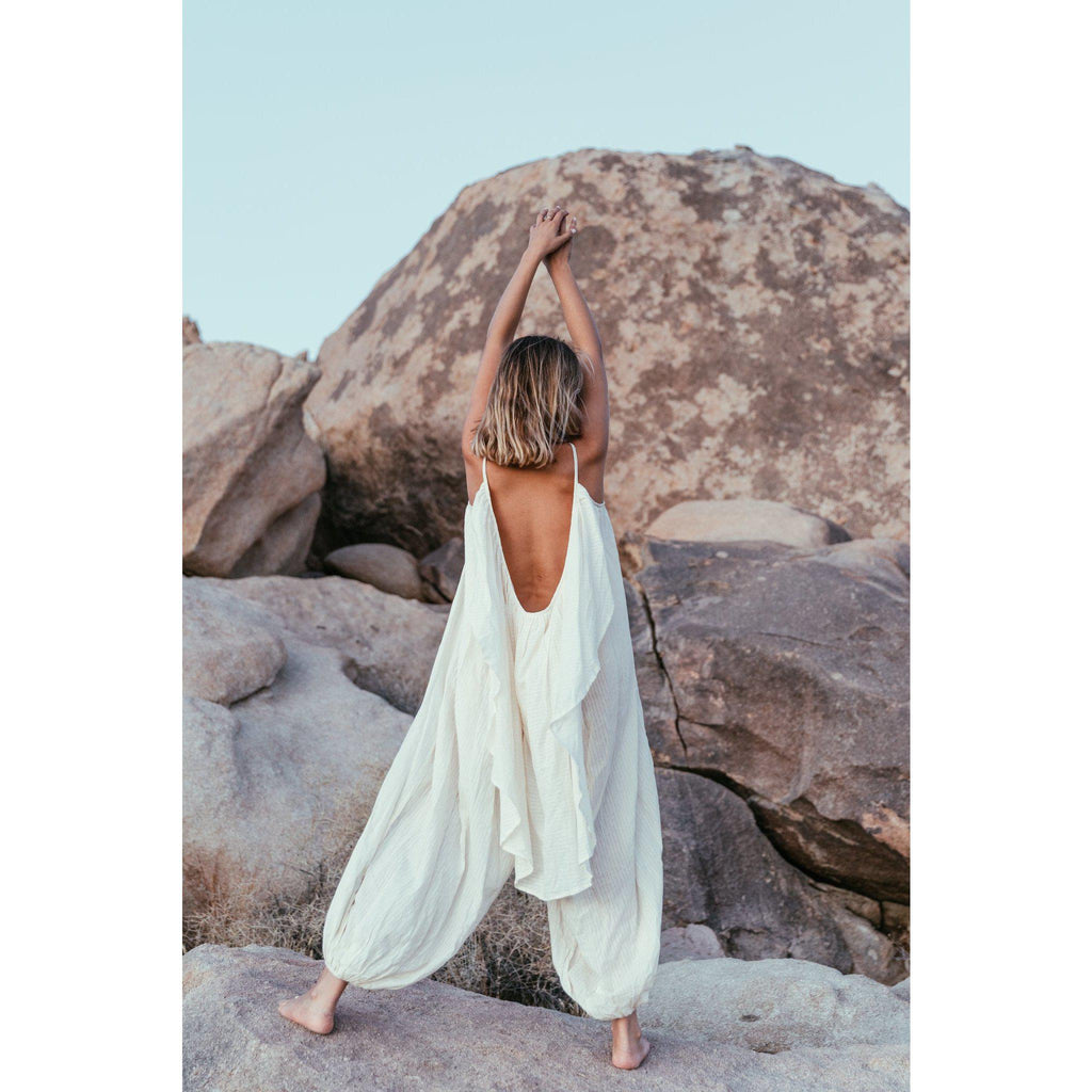 Aequem.com Shop Women's Ethical Fashion & Women's Sustainable Fashion Es Vedra jumpsuit in Natural-Jumpsuits-A Perfect Nomad