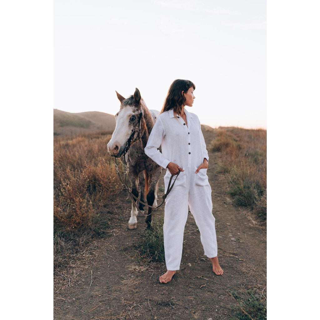 Aequem.com Shop Women's Ethical Fashion & Women's Sustainable Fashion Globetrotter Jumpsuit in White-Jumpsuits-A Perfect Nomad