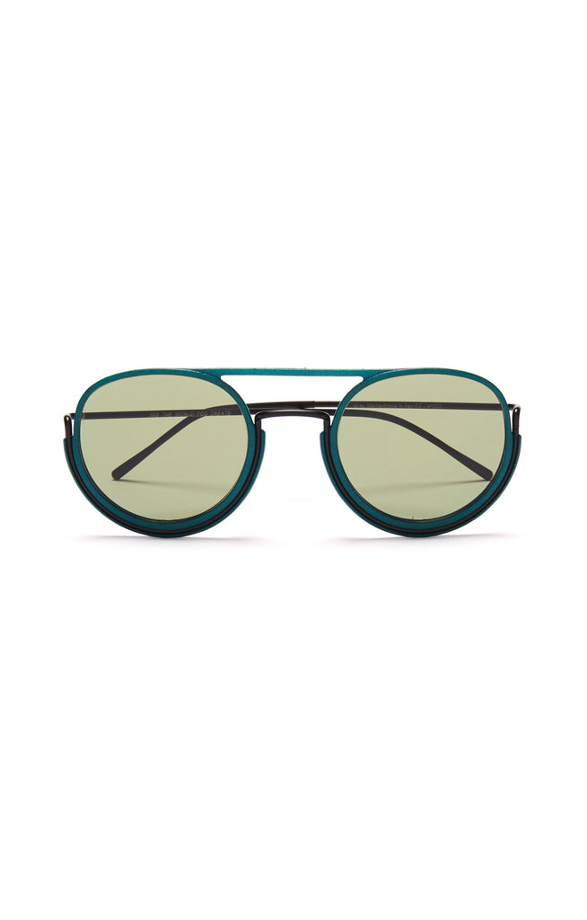 Aequem.com Shop Women's Ethical Fashion & Women's Sustainable Fashion Goddard Glasses in Black/Pine Forest/G15-Glasses-Wire Glasses (UK)