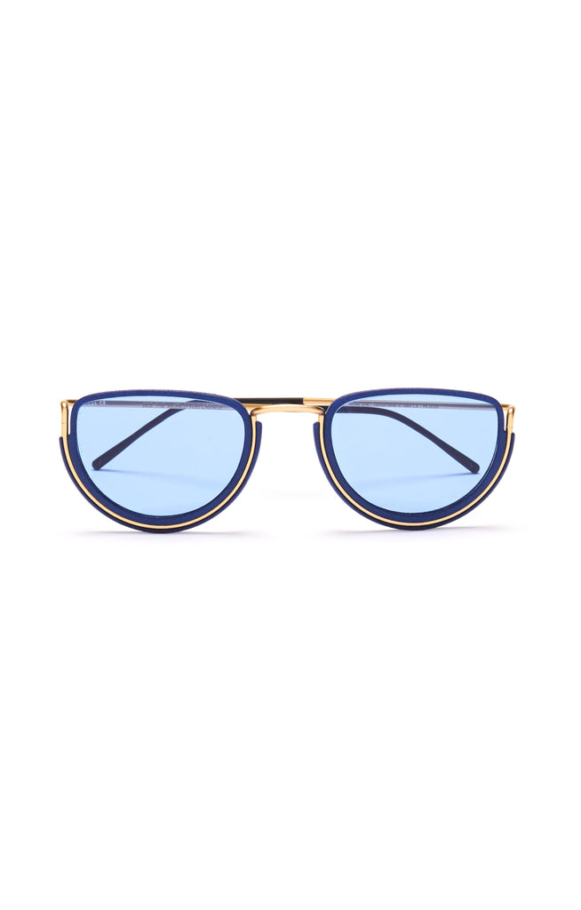 Aequem.com Shop Women's Ethical Fashion & Women's Sustainable Fashion Half Moon Glasses in Gold/Lunar Blue/Blue-Glasses-Wire Glasses (UK)