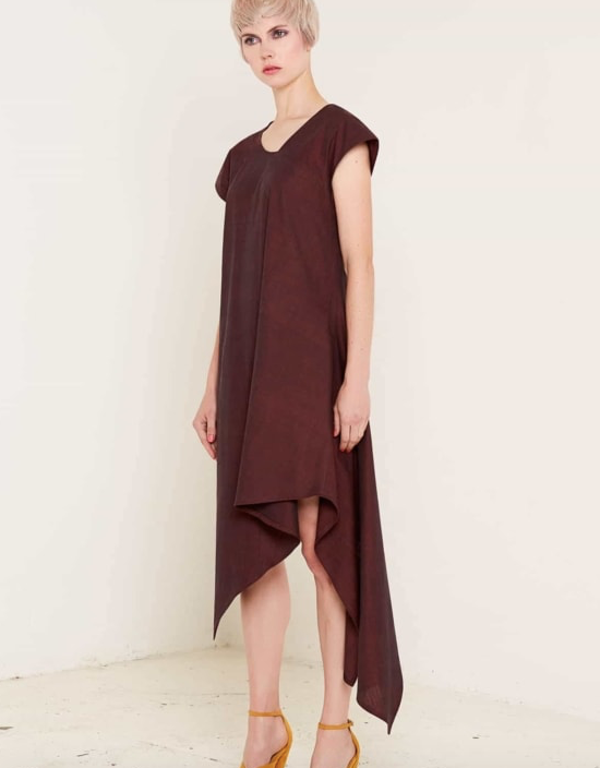Aequem.com Shop Women's Ethical Fashion & Women's Sustainable Fashion Heather Burgundy Dress-Dresses-Bo Carter (UK)
