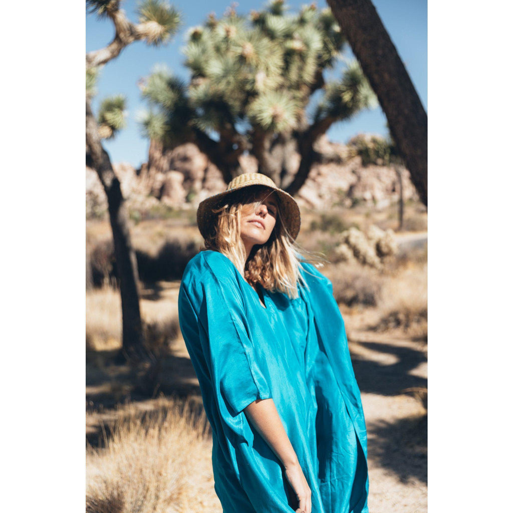 Aequem.com Shop Women's Ethical Fashion & Women's Sustainable Fashion Ibiza Maxi Dress in Ocean Blue-Dresses-A Perfect Nomad