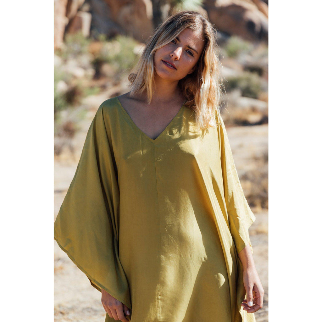 Aequem.com Shop Women's Ethical Fashion & Women's Sustainable Fashion Ibiza Maxi Dress in Palm Green-Dresses-A Perfect Nomad